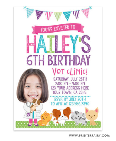 Veterinarian Birthday Invitation with Photo