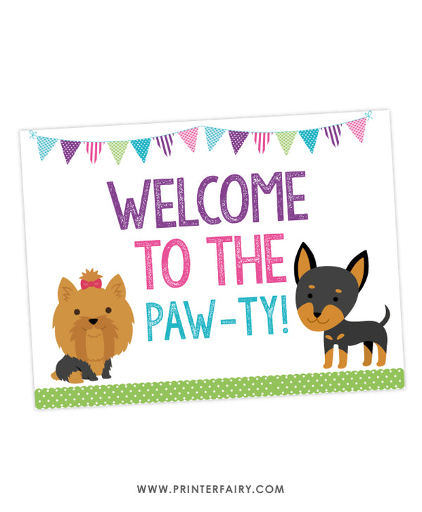 Puppy Party Welcome Sign