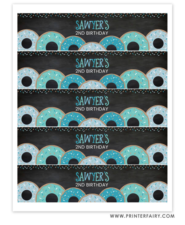 Donut Water Bottle Labels