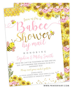 Babee Shower Invitation by mail (Pink&Gold)