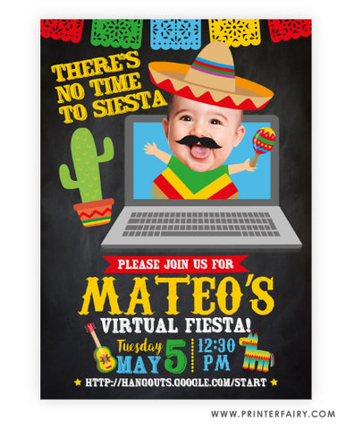 Baby Mariachi Virtual Fiesta Invitation with Photo