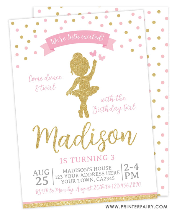 Ballerina Birthday Party Invitation