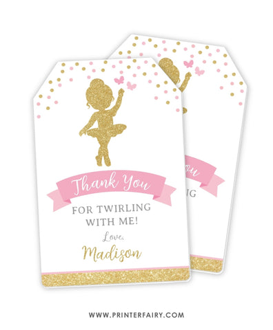 Ballerina Favor Tag