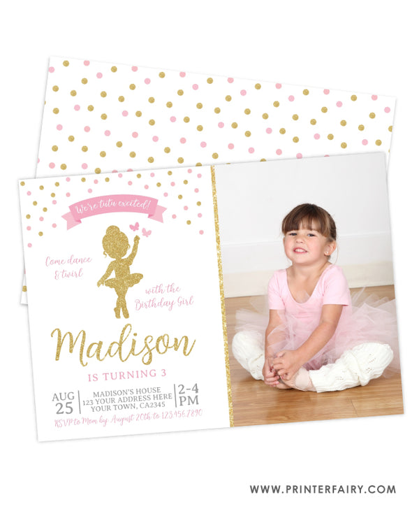Ballerina Birthday Party Invitation with Photo