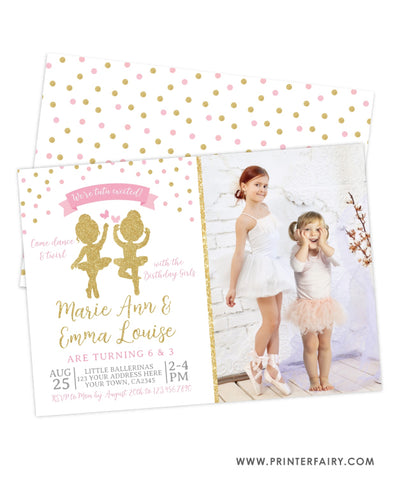 Ballerina Sibling Birthday Party Invitation with Photo