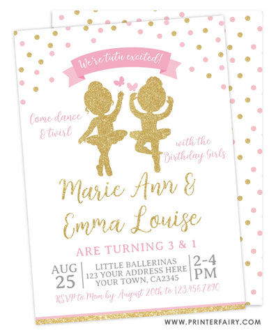 Ballerina Siblings Birthday Party Invitation
