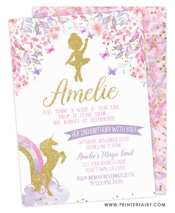 Ballerina & Unicorn Birthday Party Invitation