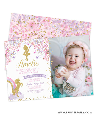 Ballerina & Unicorn Birthday Party Invitation with Photo