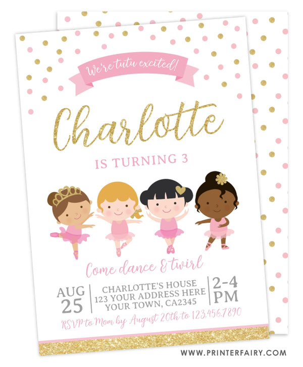 Ballerinas Birthday Party Invitation