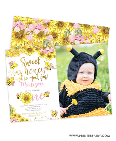 Bee First Birthday Invitation with photo