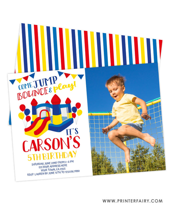 Jump Party Birthday Invitation with Photo