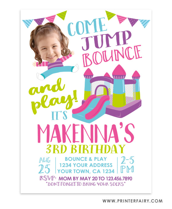 Bounce House Birthday Invitation with Photo