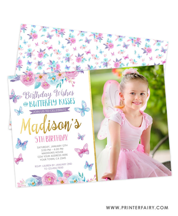 Butterfly Birthday Party Invitation with Photo
