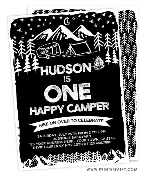 Camping First Birthday Invitation