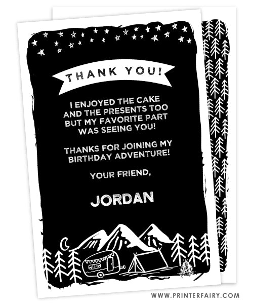 Camping Thank You Card
