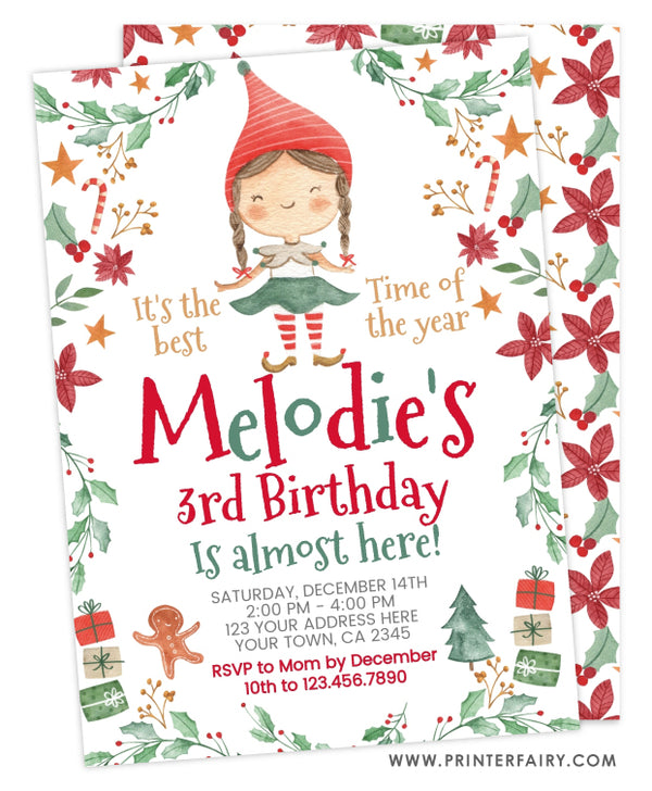 Christmas Elf Birthday Invitation