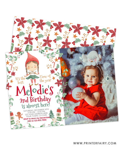 Christmas Elf Birthday Invitation with Photo