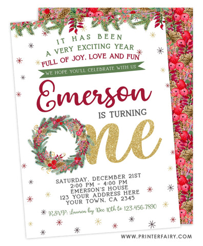 Christmas First Birthday Invitation