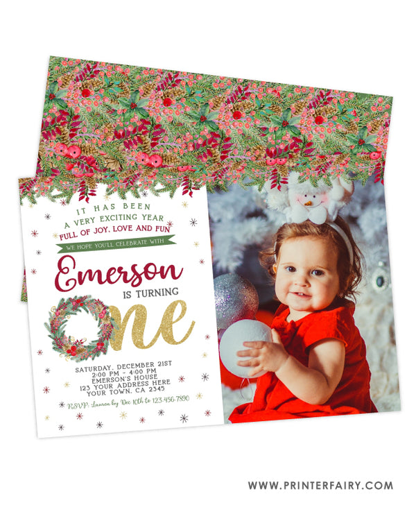Christmas First Birthday Invitation with Photo