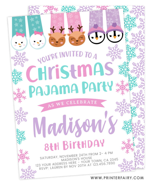 Christmas Pajama Party Birthday Invitation