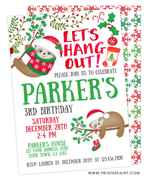 Christmas Sloth Birthday Invitation