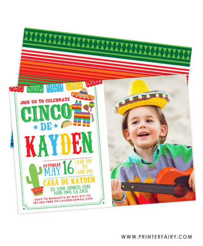 Cinco de Mayo Fiesta Invitation with Photo