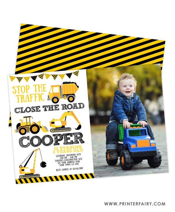 Construction Birthday Party Invitation with Photo
