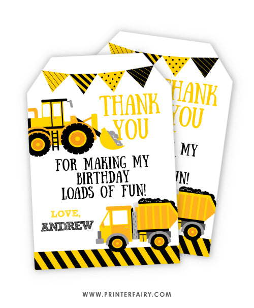 Construction Favor Tags