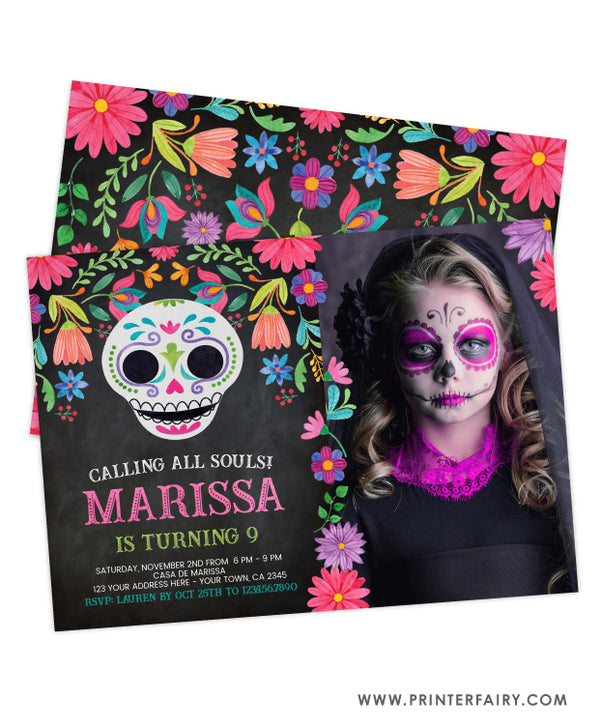 Día de los Muertos Birthday Invitation with Photo