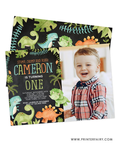 Dinosaur Birthday Invitation with Picture