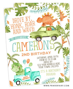 Dinosaur Drive-thru Birthday Party Invitation