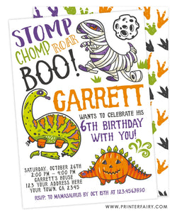 Dinosaurs Halloween Birthday Invitation