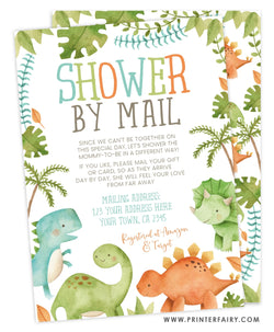 Dinosaur Shower by Mail Invitation