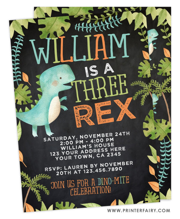 Dinosaur Three Rex Birthday Invitation