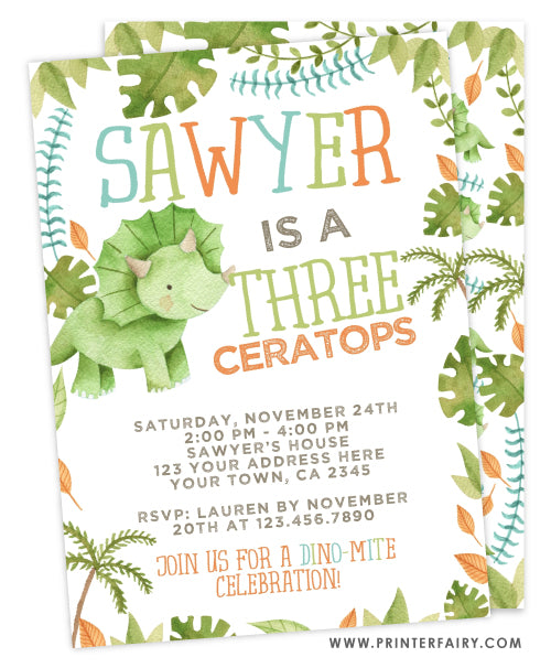 Three-Ceratops Birthday Invitation