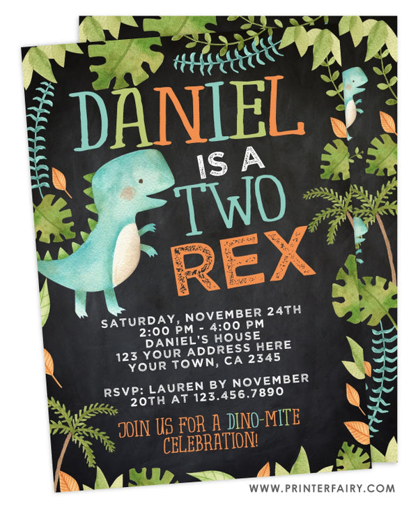 Dinosaur Two Rex Birthday Invitation