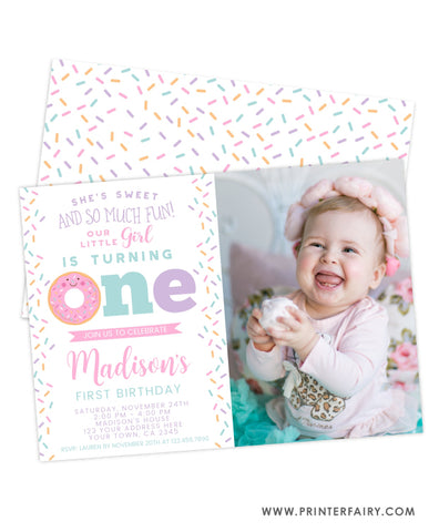 Donut Birthday Invitation with Photo