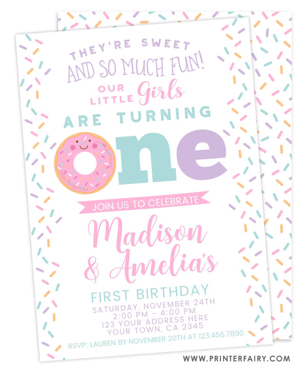 Donut First Birthday Invitation for Twins