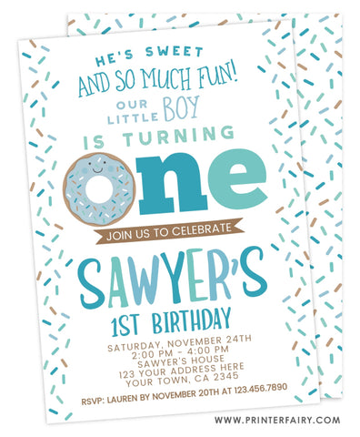 Donut First Birthday<br>teal & white