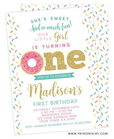 Donut First Birthday Invitation