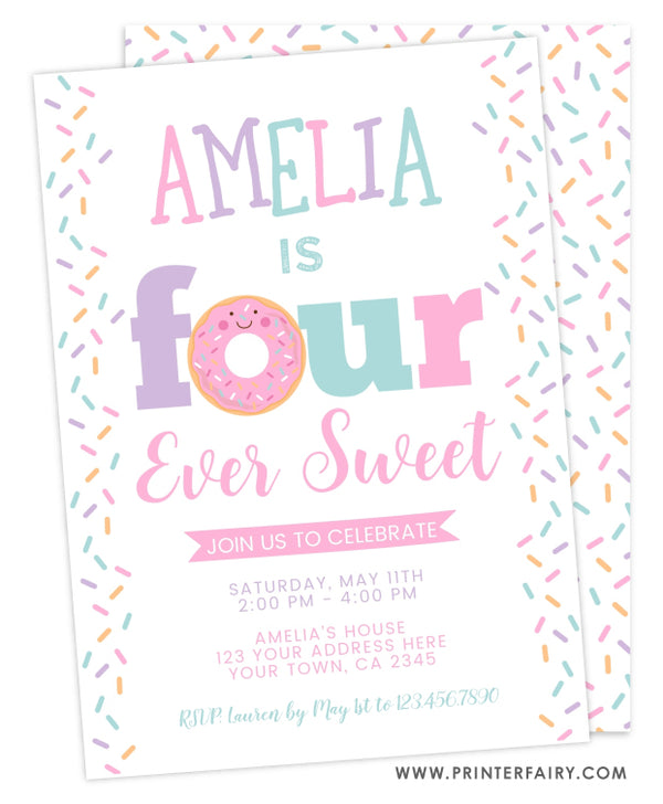 Four Ever Sweet Donut Birthday Invitation