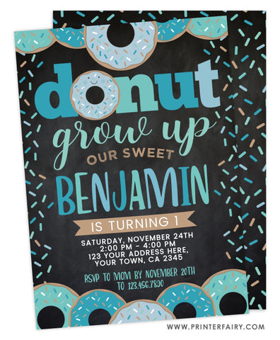 Donut Grow Up Birthday<br>teal & black