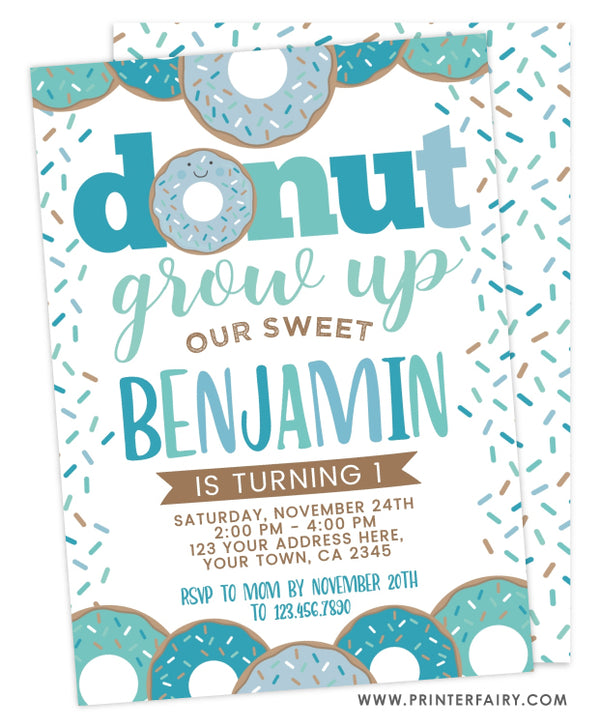 Donut Grow Up Birthday Invitation