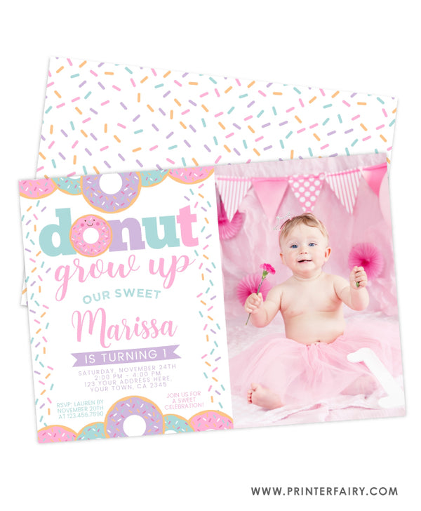 Donut Grow Up Birthday Invitation with Photo