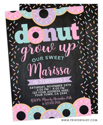 Donut Grow Up First Birthday Invitation