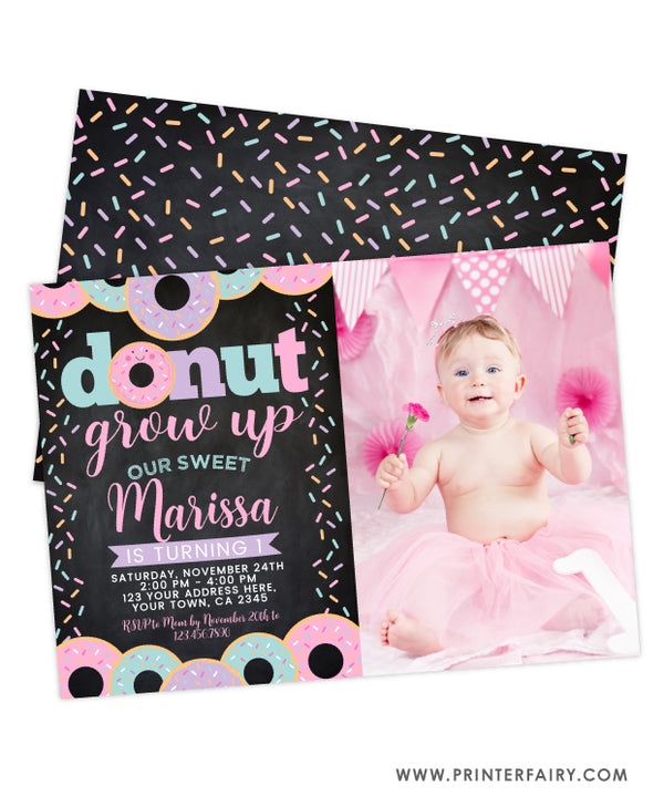 Donut Grow Up First Birthday Invitation with photo