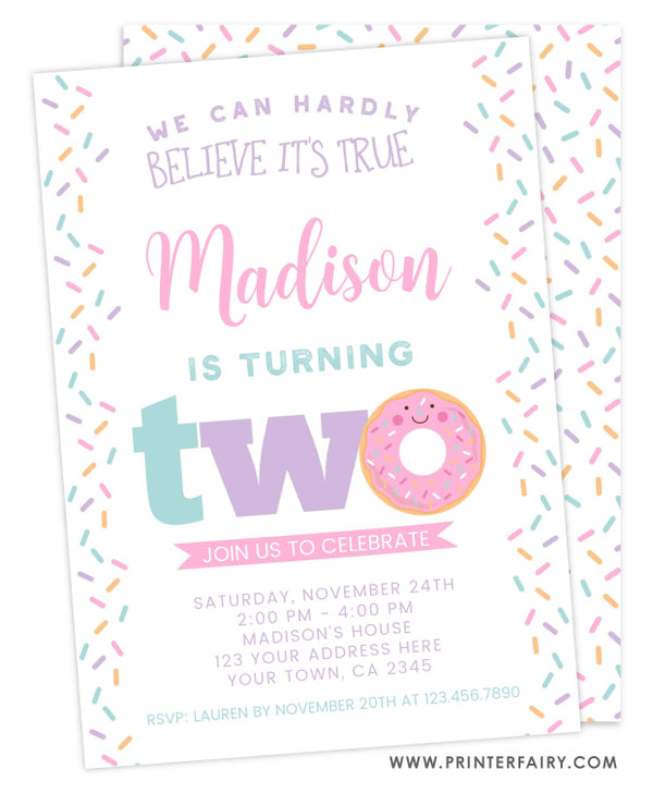 Donut Second Birthday Invitation