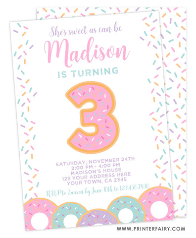 Donut Third Birthday Invitation