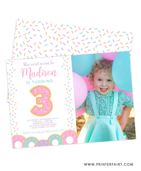 Donut Third Birthday Invitation with Photo