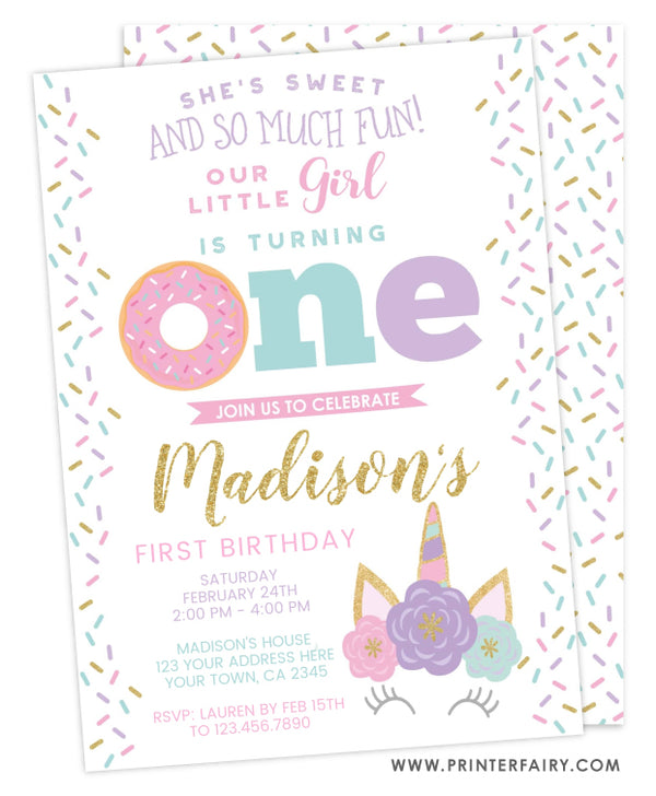 Donut & Unicorn First Birthday Invitation
